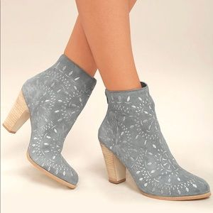 Dusty Blue-Grey Embroidered Suede Leather Boots